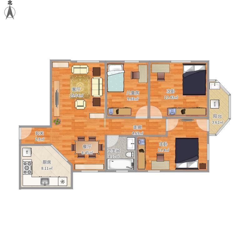 96平米三室设计