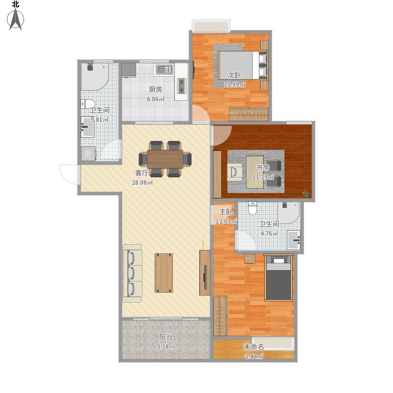 户型设计 134方三室两厅两卫  浙江 杭州 吉鸿家园 套内面积:86.
