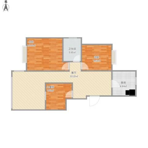 城际景苑88方户型三室两厅