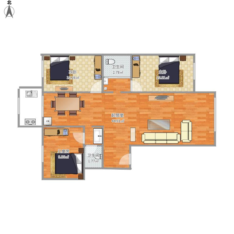 户型设计 104三室两厅  新疆 乌鲁木齐 奥林小区 套内面积:79.