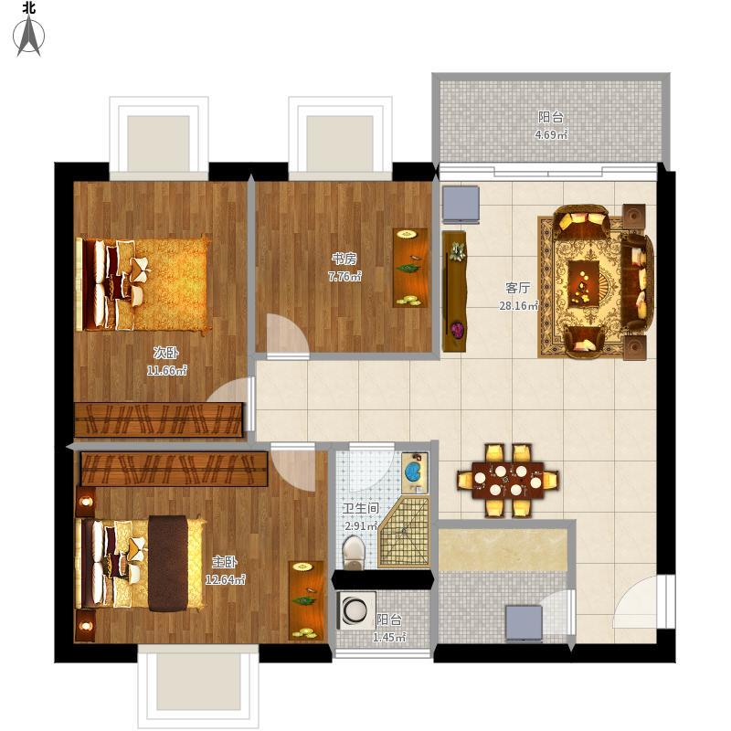 户型设计 三室一厅  四川 成都 柳江新居 套内面积:73.