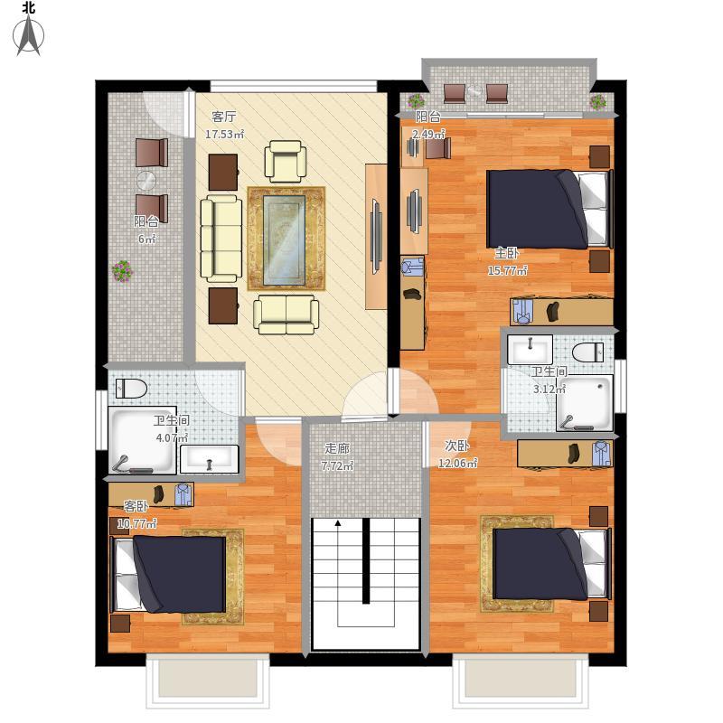 户型设计 90平长方形2楼三室一厅2卫-副本  建筑面积:111平方米 更新
