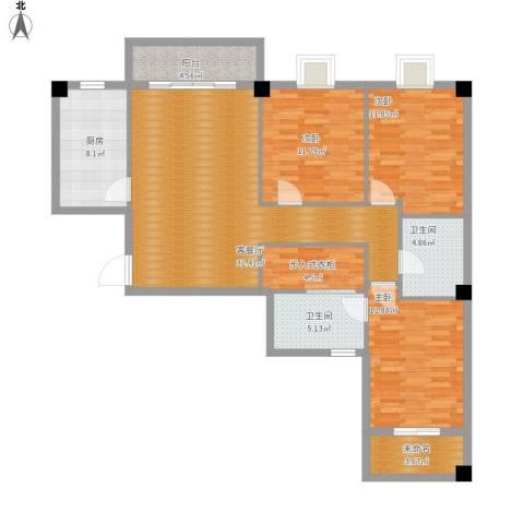 E户型三室一厅122平方