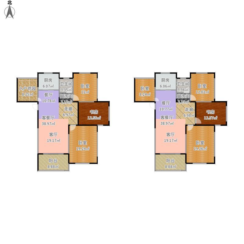 00㎡高层住宅 三房两厅一卫+入户花园户型3室2厅1卫
