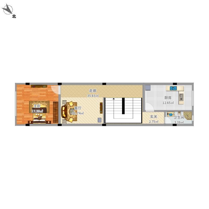 户型设计 二层平面设计图  广西 南宁 南棋小区 套内面积:69.