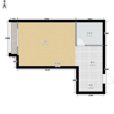 银星苑51.56㎡白领公馆01套型面积5156m户型