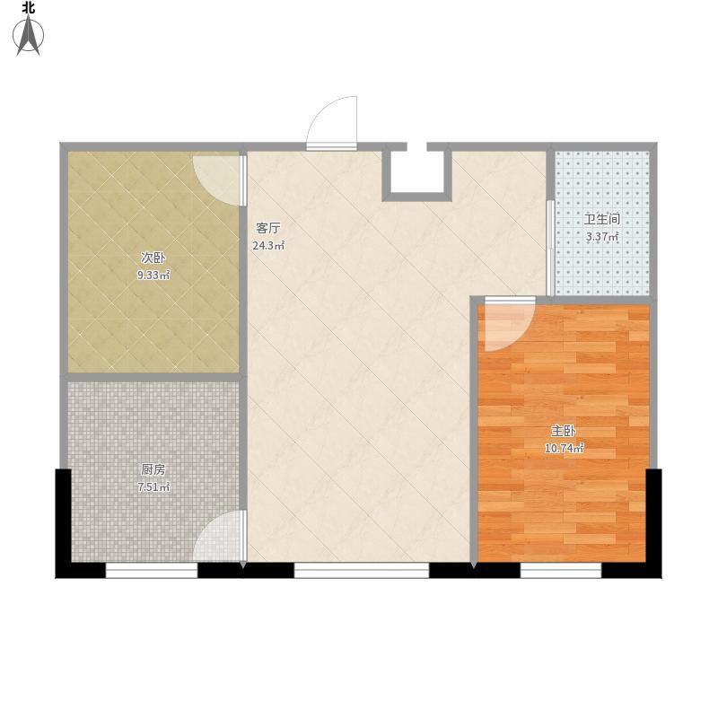 设计图分享 56平房屋两室一厅设计图  面积正方形一楼两室一厅一厨一