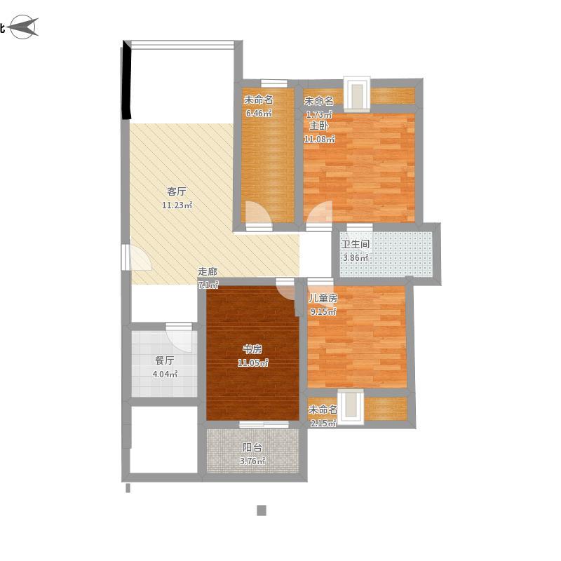 鹭岛之星130.00㎡一期一批次标准层2栋2单元d23室户型