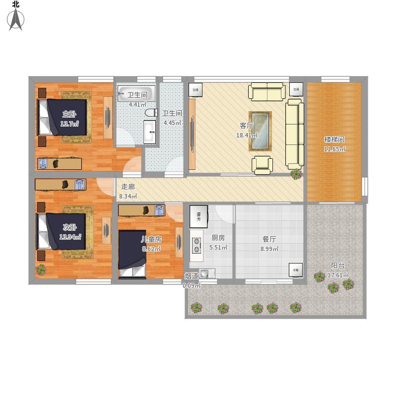 戶型設計 農村自建房2樓  廣東 佛山 未知小區 套內面積:115.