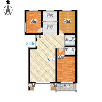 明日星城f户型三室两厅两卫户型3室2厅2卫