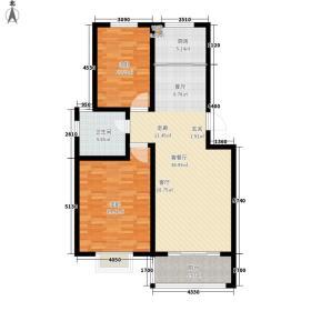 逸景和公馆96.56㎡A1 两室两厅一卫户型2室2厅1卫