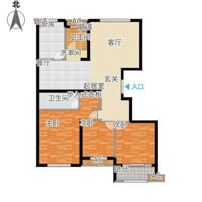 麒麟公馆147.00㎡A2户型 三室两厅两卫户型3室2厅2卫