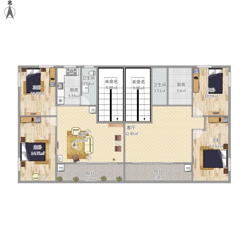 户型设计 75方自建两室一厅  广东 广州 未知小区 套内面积:145.