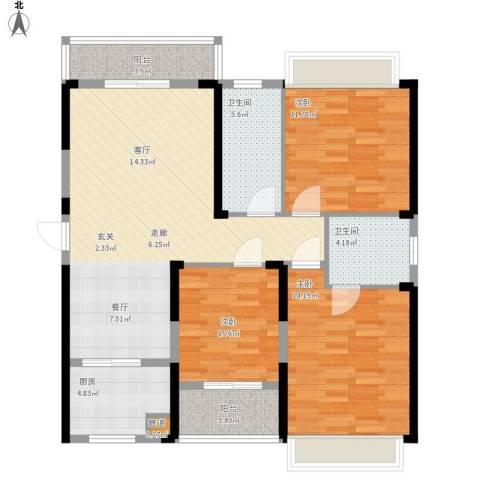 东湖御院户型图3号楼J户型面积121.26㎡