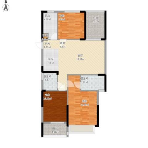 东湖御院户型图3号楼E户型面积113.38㎡