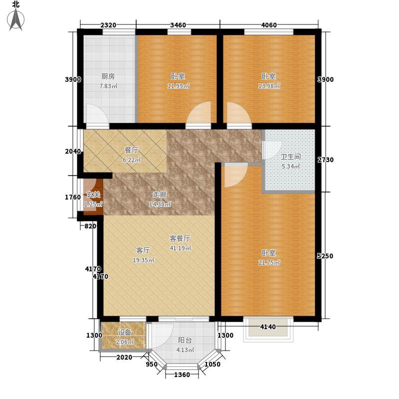 12㎡赵都新城121.12㎡3室2厅1卫户型3室2
