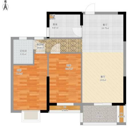 名湖豪庭户型图4、5号楼B户型88㎡