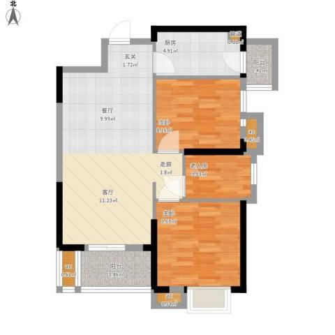 名湖豪庭户型图4、5号楼A户型77㎡