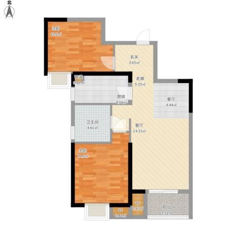 名湖豪庭户型图9号楼B3户型2室面积88㎡