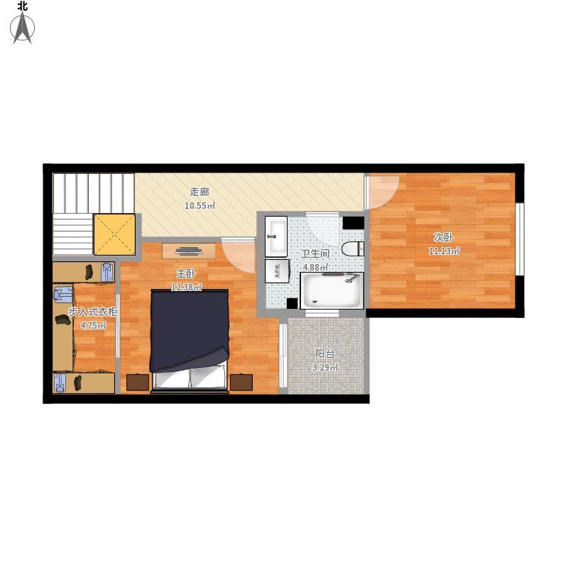 户型设计 二楼(大卫生间)  天津 红星国际广场 套内面积:46.
