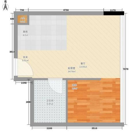 南海星汇云锦45.00㎡公寓03单元1室户型
