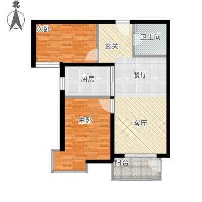 金屋秦皇半岛88.45㎡二区高层46#楼b户型3室2厅