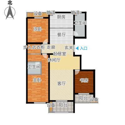 麒麟公馆167.00㎡B户型 三室两厅两卫户型3室2厅2卫