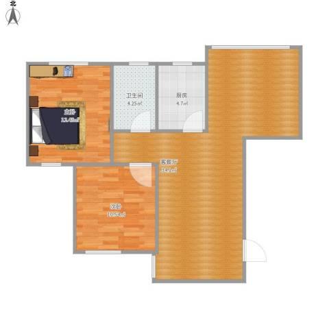 90方A1户型两室两厅
