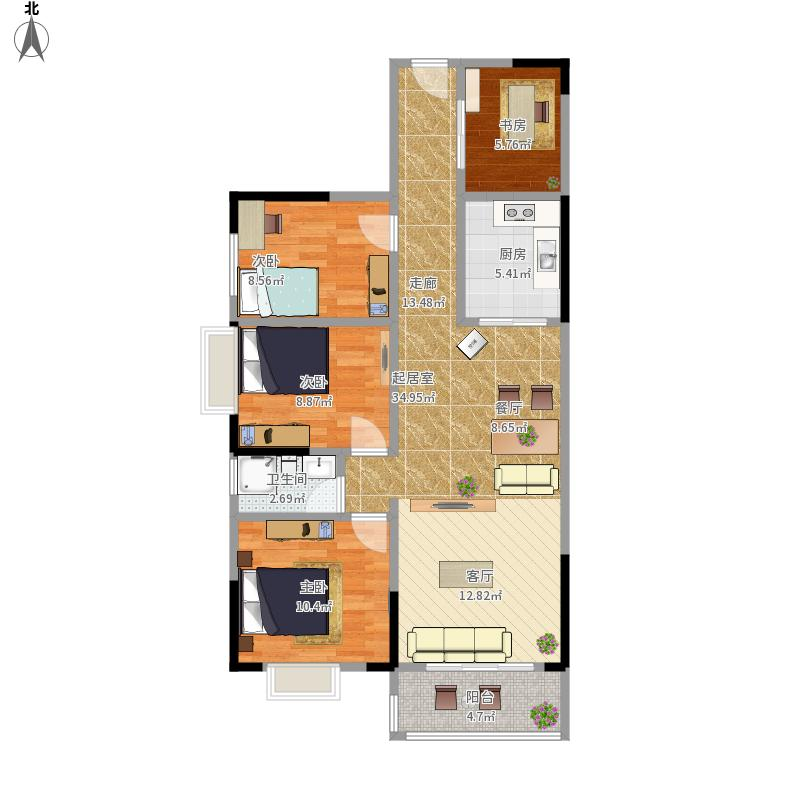 四房一厅一卫设计图纸分享展示