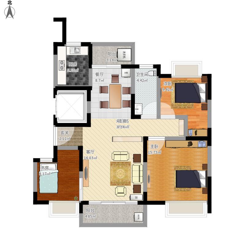 户型设计 120平三房两厅改户型后  海南 保亭 芙蓉小区 套内面积:85.