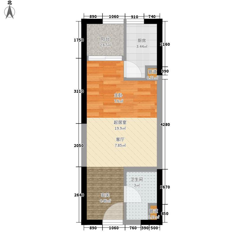 00㎡b座a2单身公寓平面图户型1室1厅