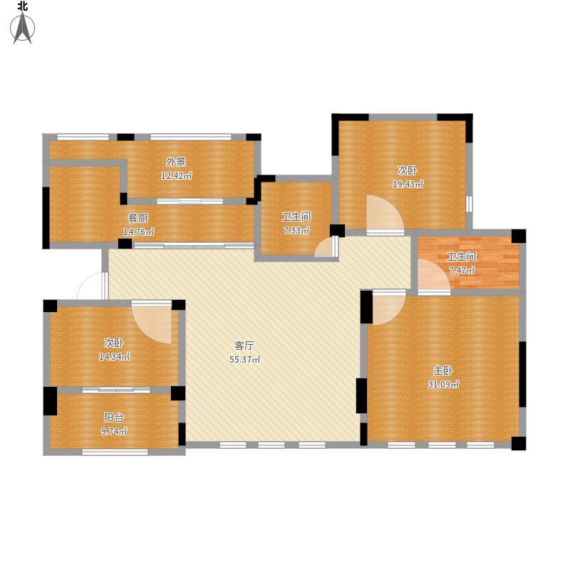户型设计 胶州-半岛蓝湾-设计方案  山东 青岛 半岛蓝湾 套内面积:171