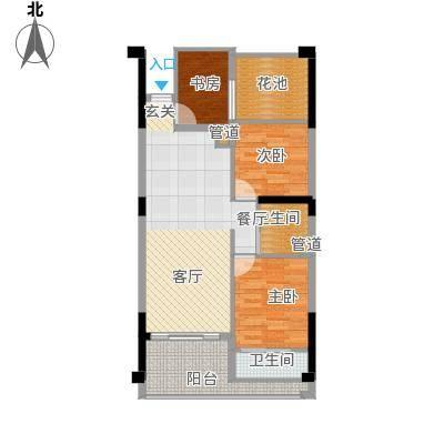 嘉鹏・香醍25度72.00㎡户型B户型3室2厅2卫