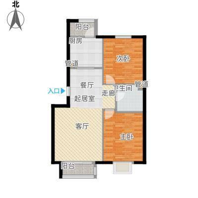 银河家园81.00㎡两室一厅户型