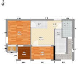 三度空间56.44㎡A栋A2(a)户型2室1厅1卫1厨