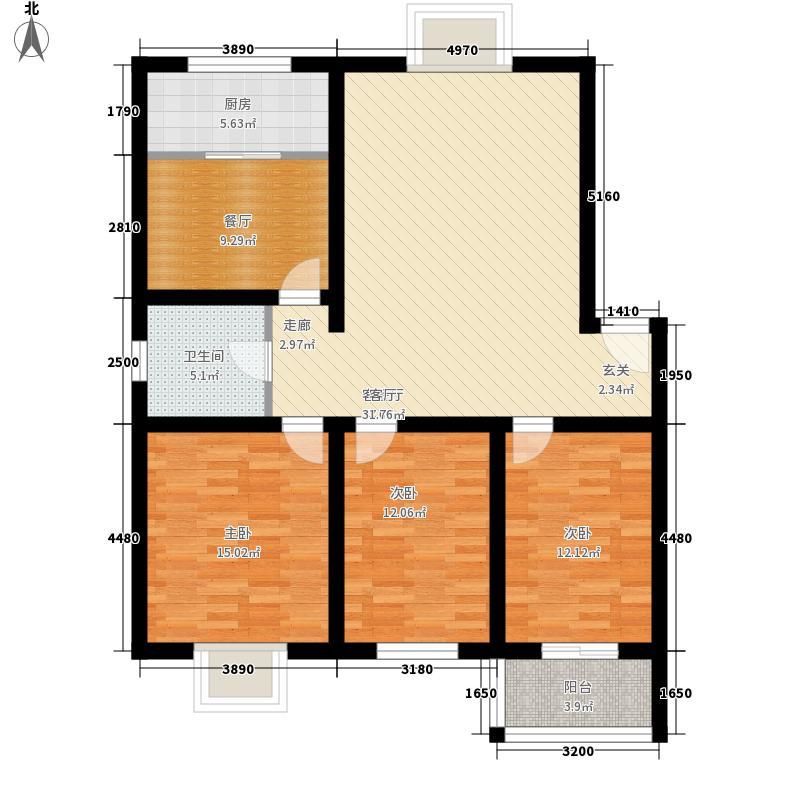 00㎡花间小镇户型图三室两厅一厨一卫118平左3室2厅1...