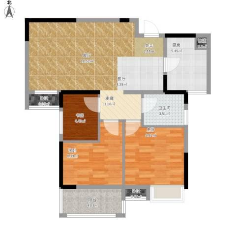 王家湾中央生活区户型图3、6面积89.00㎡