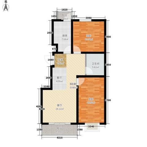 海东盛景33号楼 B户型 两室两厅一卫 92㎡户型2室2厅1卫-副本