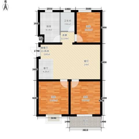 海东盛景33号楼 D户型 三室两厅一卫 100㎡户型3室2厅1卫-副本