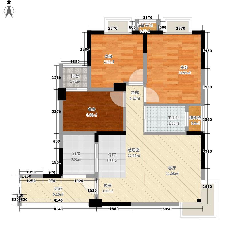 户型设计 嘉盛大厦b户型3室2厅1卫1厨  广西 北海 嘉盛大厦 建筑面积