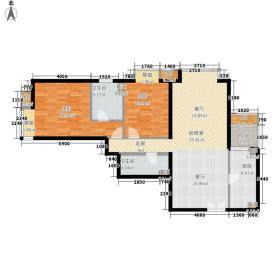 城市月光105.39㎡E户型2室2厅2卫1厨