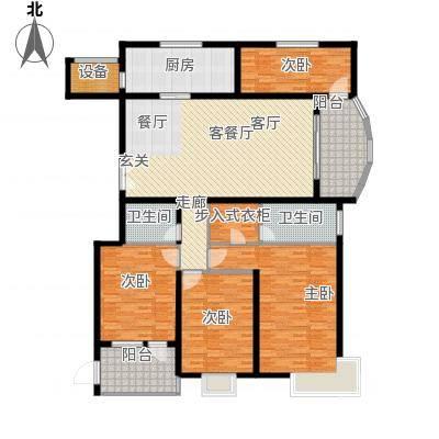 汇中广场185.12㎡1号楼A户型 四室二厅二卫 185.12㎡户型4室2厅2卫