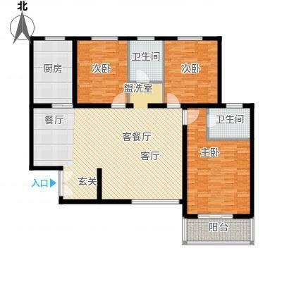 汇中广场133.24㎡3号楼C户型 三室二厅二卫 133.24㎡户型3室2厅2卫