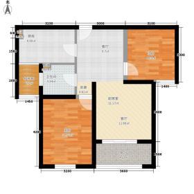 金泰舒格�84.00㎡26层高层C2户型2室2厅1卫1厨