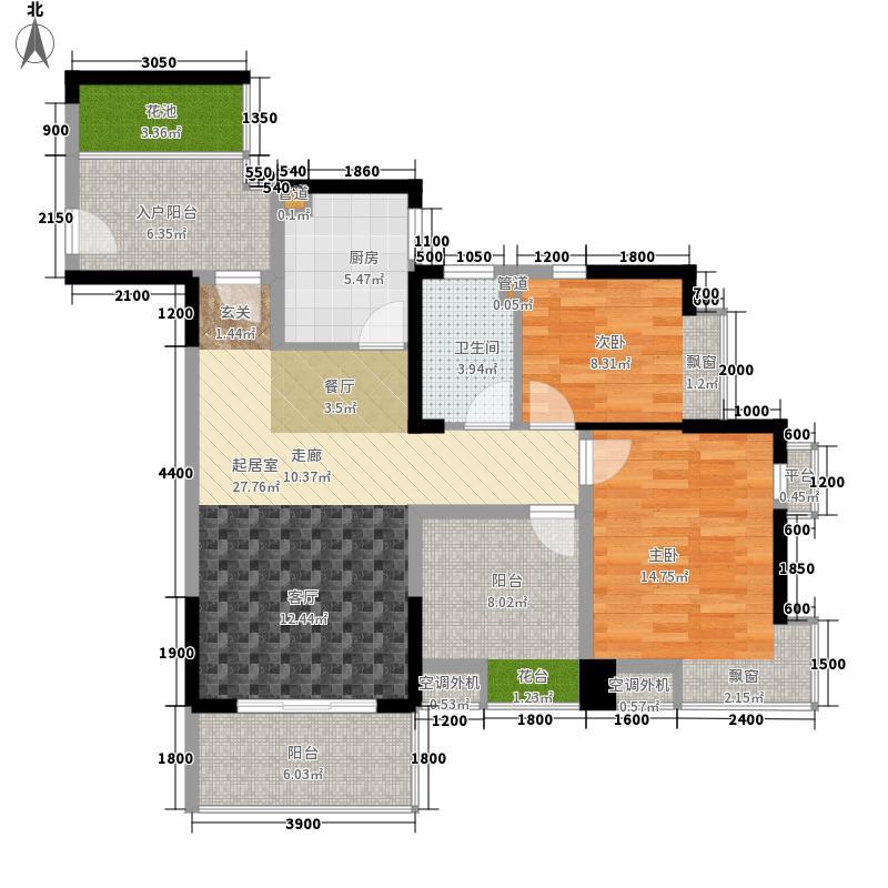梦之岛花园97平米两房户型