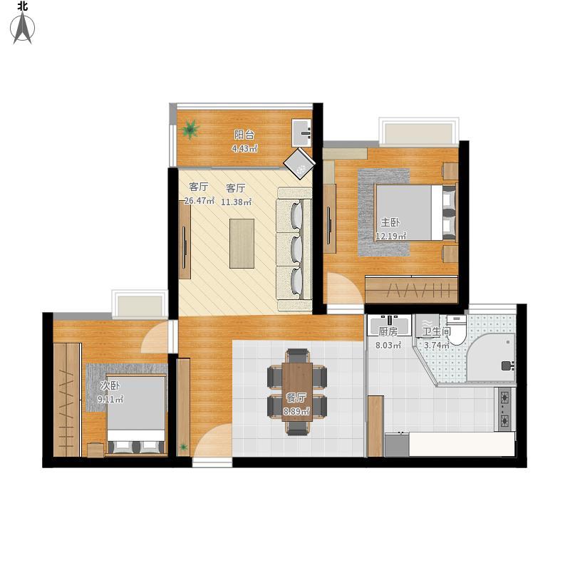 户型设计 栖贤园85平两室两厅半开放式厨房-副本  建筑面积:90平方米