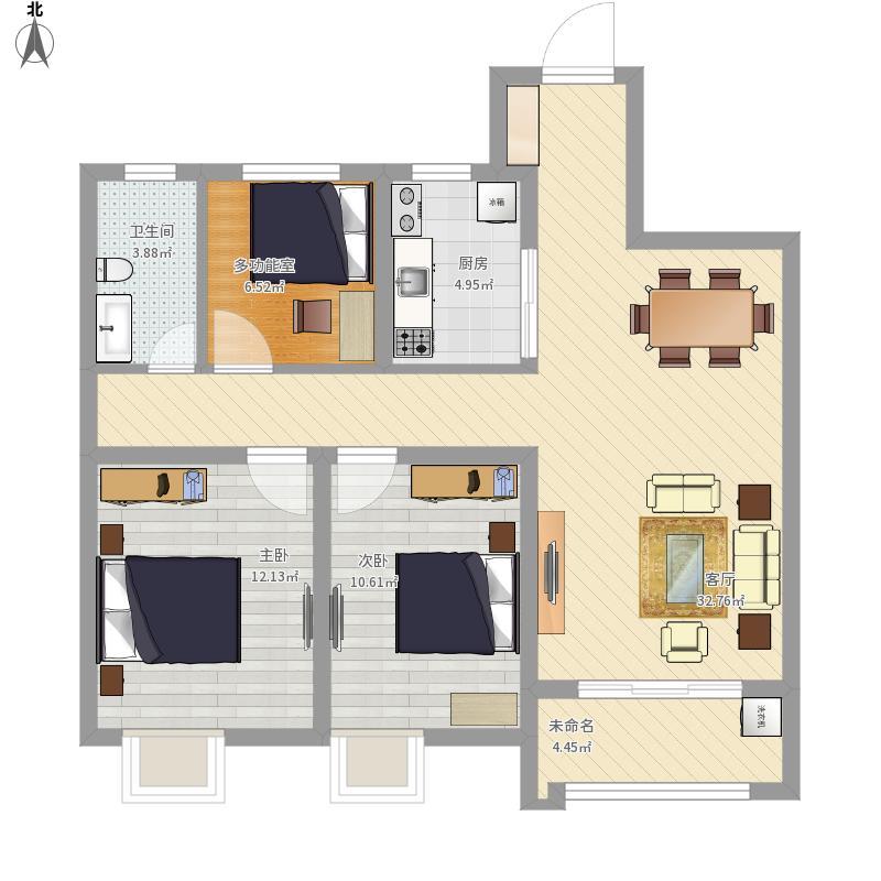户型设计 悦锦湾108方三室一厅 - 副本  江苏 南通 南通华润中心 建筑