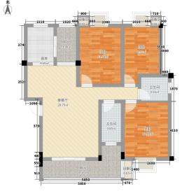 荟萃雅苑126.00㎡3室2厅户型3室2厅2卫1厨