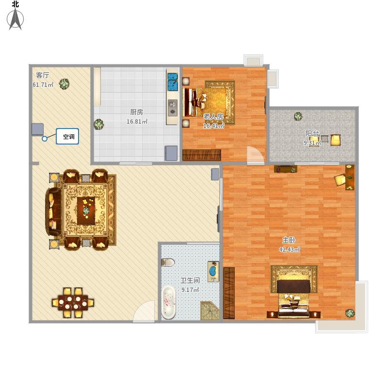 富力半岛花园e4栋靠路面户型两室一厅