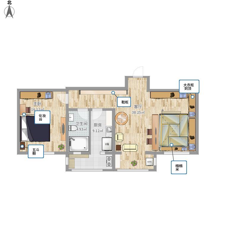 户型设计 青年公寓第三方案平面图  天津 青年公寓红桥区 建筑面积:96